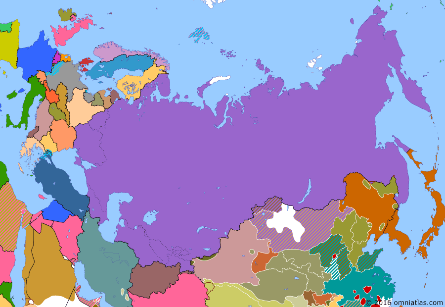 Political map of Russia & the former Soviet Union on 02 Jun 1932 (The Soviet Union under Stalin: Japanese Conquest of Manchuria), showing the following events: Tajik Socialist Soviet Republic; Chinese Nationalists begin their Encirclement Campaigns against the Communists ; Japanese invasion of Manchuria; Uprising in western Mongolia, crushed with Soviet support.