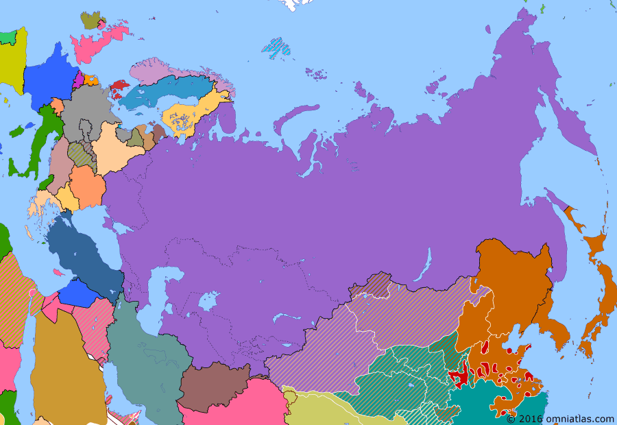 Political map of Russia & the former Soviet Union on 22 Aug 1939 (The Soviet Union under Stalin: Soviet-Japanese Border Wars), showing the following events: Kazakh Soviet Socialist Republic; Kirghiz Soviet Socialist Republic; Dissolution of Transcaucasian SFSR; Marco Polo Bridge Incident; Battle of Lake Khasan; Occupation of the Sudetenland; End of Spanish Civil War; Battles of Khalkhin Gol.