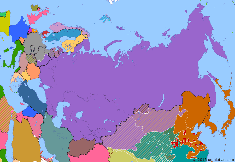 Political map of Russia & the former Soviet Union 28 October 1939 (Molotov–Ribbentrop Pact): On 23 August 1939, even while it was fighting Japan (Battle of Khalkhin Gol) on the Mongolian border, the Soviet Union shocked the world by agreeing to the Molotov–Ribbentrop Pact (Molotov–Ribbentrop Pact) with Nazi Germany (Nazi Germany). Formally, this was a non-aggression pact between two ideological enemies. However a secret clause agreed to the division of eastern Europe. When the Germans invaded Poland in September, the Soviets joined in (Invasion of Poland (1939)) and invaded from the east.