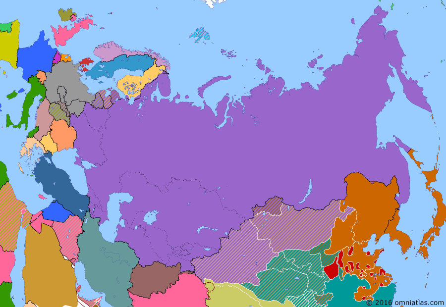 Political map of Russia & the former Soviet Union 6 March 1940 (Winter War): After expanding into Poland (Soviet invasion of Poland) and the Baltic states (Background of the occupation and annexation of the Baltic states), the Soviet Union launched an invasion of Finland (Winter War) in late 1939. Despite their huge advantage in numbers and equipment, the war started disastrously for the Soviets. However they persevered and eventually forced the Finns to come to terms (Moscow Peace Treaty).