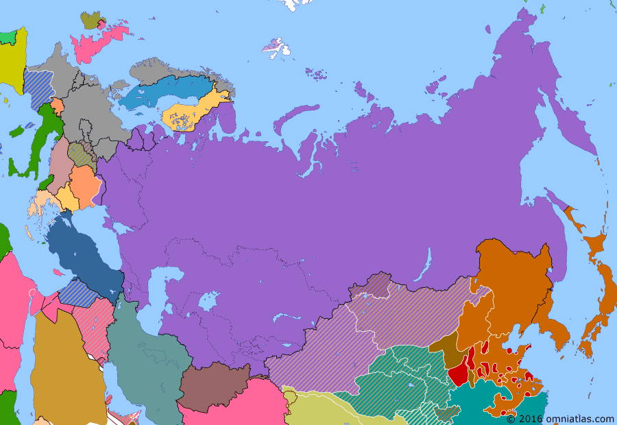 Political map of Russia & the former Soviet Union on 03 Jul 1940 (The Soviet Union under Stalin: Nazi-Soviet Honeymoon), showing the following events: Moscow Peace Treaty; Karelo-Finnish Soviet Socialist Republic established; Soviet Union executes about 20,000 Polish nationalists at Katyn Forest and elsewhere; Norwegian Campaign; Soviet Occupation of the Baltic; Second Armistice at Compiègne; Romania withdraws from Bessarabia and Northern Bukovina in response to Soviet ultimatum.