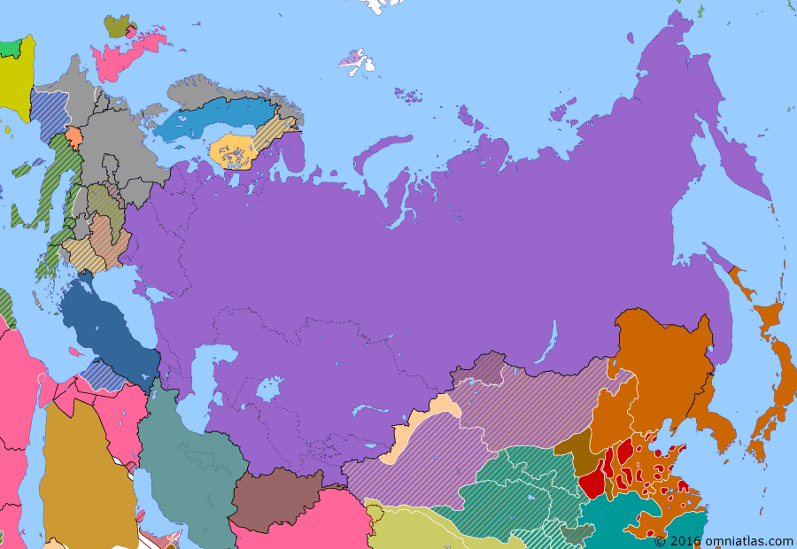 Political map of Russia & the former Soviet Union on 21 Jun 1941 (The Soviet Union under Stalin: Eve of Barbarossa), showing the following events: Moldavian Soviet Socialist Republic formed; Soviet Union annexes Baltic states; Tripartite Pact; Prelude to Silverfox; Germany intervenes in Balkans, conquering Greece and Yugoslavia; Soviet-Japanese Neutrality Pact.