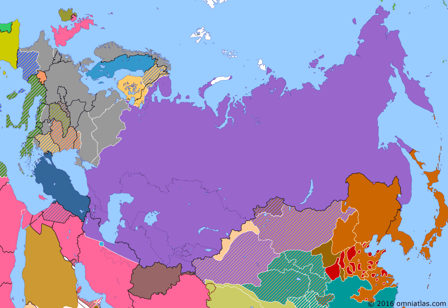 Political map of Russia & the former Soviet Union on 04 Dec 1941 (The Great Patriotic War: Germany Invades: Battle of Moscow), showing the following events: Siege of Leningrad begins; Battle of Moscow; Operation Rheinhard.
