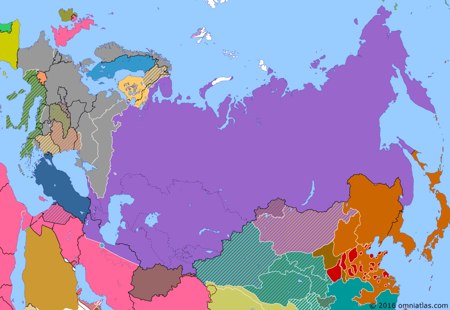 Political map of Russia & the former Soviet Union on 14 Dec 1942 (The Great Patriotic War: Germany Invades: Battle of Stalingrad), showing the following events: Second Battle of El Alamein; Case Anton; Operation Uranus.