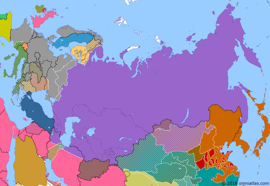 Political map of Russia & the former Soviet Union on 04 Jul 1943 (The Great Patriotic War: Germany at Bay: Battle of Kursk), showing the following events: Surrender of the Sixth Army; Third Battle of Kharkov; Battle of Kursk.
