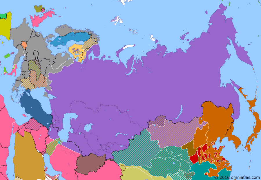 Political map of Russia & the former Soviet Union on 08 Jan 1944 (The Great Patriotic War: Germany at Bay: Lower Dnieper Offensive), showing the following events: Operation Husky; Drive to the Dnieper; Kiev Strategic Offensive; Tehran Conference.