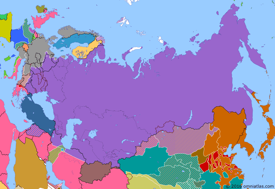 Political map of Russia & the former Soviet Union on 08 Feb 1945 (The Great Patriotic War: Germany at Bay: From the Vistula to the Oder), showing the following events: Belgrade Offensive; Soviet Union annexes Tuvan People's Republic; Operation Manna; Budapest Offensive; Second East Turkestan Republic; Battle of the Bulge; Vistula-Oder Offensive; Yalta Conference.