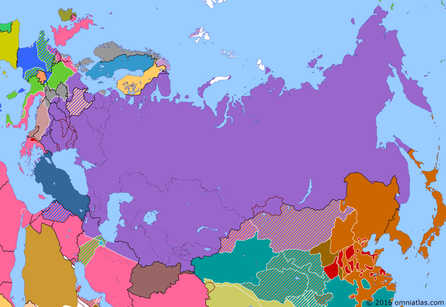 Political map of Russia & the former Soviet Union on 02 May 1945 (The Great Patriotic War: Germany at Bay: Battle of Berlin), showing the following events: Soviet Union denounces Soviet-Japanese Neutrality Pact of 1941; Battle of Berlin; Elbe Day; Death of Hitler.