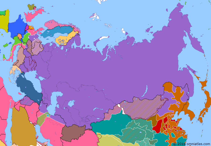 Political map of Russia & the former Soviet Union on 15 Aug 1945 (The Great Patriotic War: Germany at Bay: Soviet Attack on Japan), showing the following events: Allied division of Germany; Atomic bombing of Hiroshima; Soviet invasion of Manchuria; Invasion of South Sakhalin; Sino-Soviet Treaty of Friendship and Alliance; Jewel Voice Broadcast.