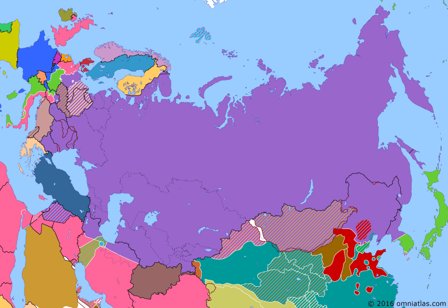 Political map of Russia & the former Soviet Union on 21 Nov 1945 (The Great Patriotic War: Germany at Bay: Soviet Post-War Power), showing the following events: Division of Korea; Kuril Landing Operation; US Forces arrive in Tokyo; Nuremberg Trials.