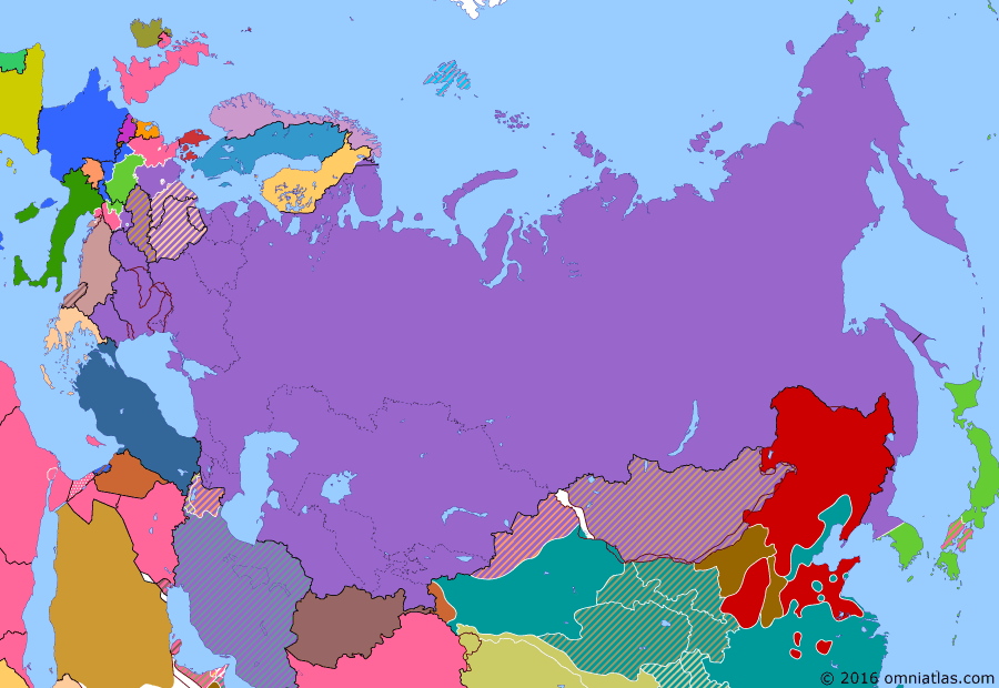 Political map of Russia & the former Soviet Union on 16 May 1946 (Soviet Superpower: Iran Crisis), showing the following events: Azerbaijan People's Government; Republic of Mahabad; Soviet Union withdraws from Manchuria; Greek Civil War.