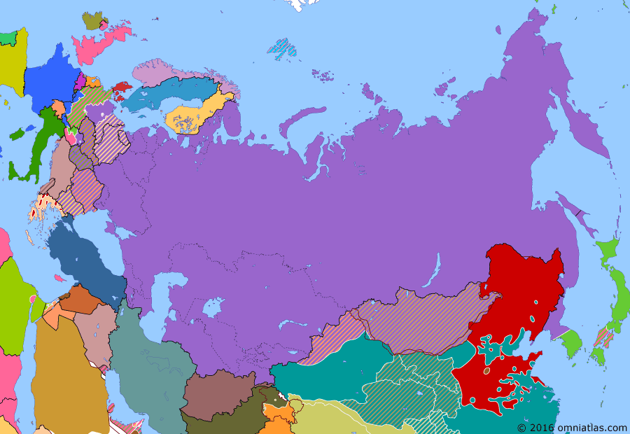 Political map of Russia & the former Soviet Union on 24 Jun 1948 (Soviet Superpower: Berlin Blockade), showing the following events: Reoccupation of Iranian Azerbaijan; Bizone; Paris Peace Treaty with Finland; Paris Peace Treaties; Partition of India; Marshall Plan; Berlin Blockade.