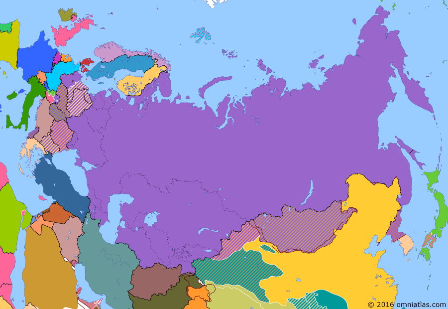 Political map of Russia & the former Soviet Union on 08 Oct 1949 (Soviet Superpower: NATO and the Two Germanys), showing the following events: First Republic of South Korea; Democratic People's Republic of Korea; North Atlantic Treaty; German Federal Republic; RDS-1; People's Republic of China; German Democratic Republic.