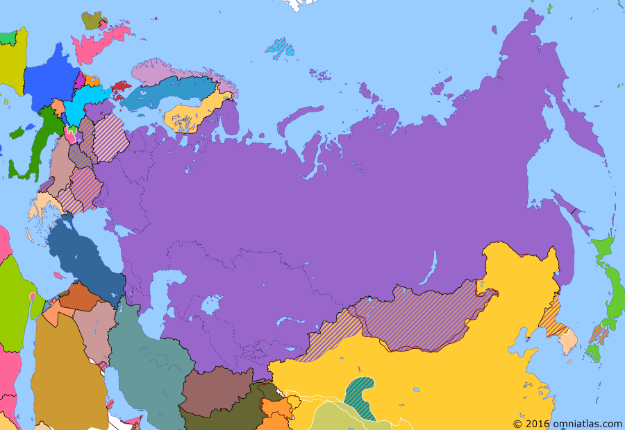 Political map of Russia & the former Soviet Union on 25 Jan 1951 (Soviet Superpower: Korean War), showing the following events: End of East Turkestan Republic; Outbreak of Korean War; UN Offensive in Korea; Chinese intervention in Korea.