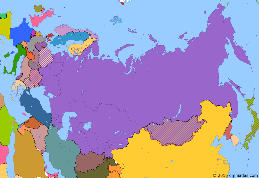 Political map of Russia & the former Soviet Union on 21 Sep 1955 (Soviet Superpower: Warsaw Pact), showing the following events: Death of Stalin; Crimea transferred to Ukraine; West Germany joins NATO; Warsaw Pact; Austrian State Treaty; Soviet occupation of East Germany ends.