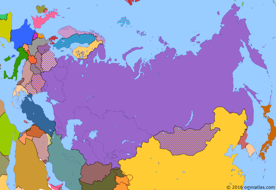 Political map of Russia & the former Soviet Union on 26 Jun 1963 (Soviet Superpower: Height of the Cold War), showing the following events: Return of Dairen; Karelo-Finnish SSR abolished; Soviet-Japanese Joint Declaration; Hungarian Uprising; Suez Crisis; Sputnik 1; Berlin Wall; Cuban Missile Crisis; China-Mongolian Border Treaty.