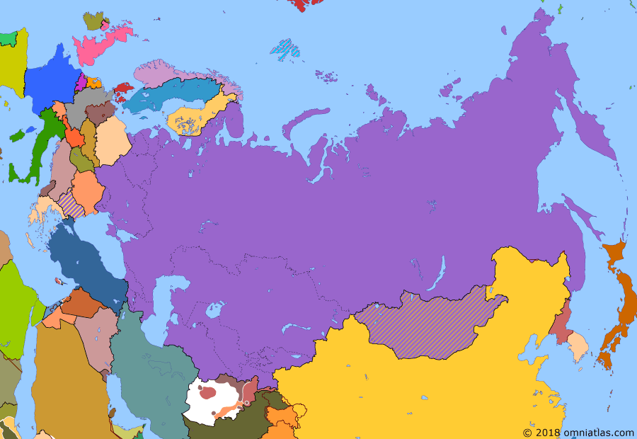 Political map of Russia & the former Soviet Union on 23 Dec 1989 (Soviet Superpower: Glasnost), showing the following events: Soviet withdrawal from Afghanistan; Soviet legislative election; Tadeusz Mazowiecki of Solidarity appointed Prime Minister of Poland; Removal of Hungary's border fence; Fall of the Berlin Wall; Velvet Revolution; Romanian Revolution.