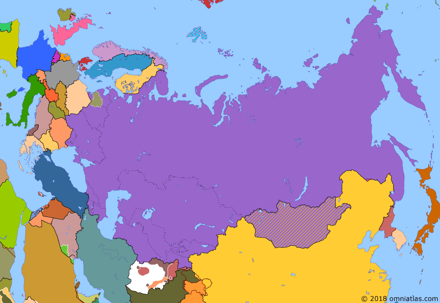 Political map of Russia & the former Soviet Union on 25 Feb 1991 (Soviet Superpower: End of the Warsaw Pact), showing the following events: End of Communism in Bulgaria; Act of March 11; Invasion of Kuwait; German reunification; January Events; Operation Desert Storm; End of Warsaw Pact.