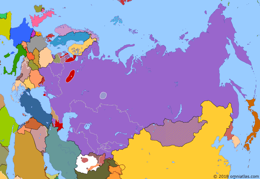 Political map of Russia & the former Soviet Union on 19 Aug 1991 (Soviet Superpower: Soviet Coup Attempt), showing the following events: Independence of Georgia; 1991 Sino-Soviet Border Agreement; Independence of Slovenia and Croatia; Gorbachev's house arrrest; Soviet Coup Attempt.