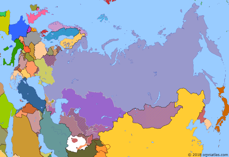 Political map of Russia & the former Soviet Union 12 December 1991 (Belavezha Accords): The failure of the 1991 August coup broke the Communist Party (Communist Party of the Soviet Union)  in the Soviet Union. Real power now lay in the hands of the component republics, notably Russia and Ukraine. In December, these two countries and Belarus signed the Belavezha Accords, declaring the Soviet Union dissolved.