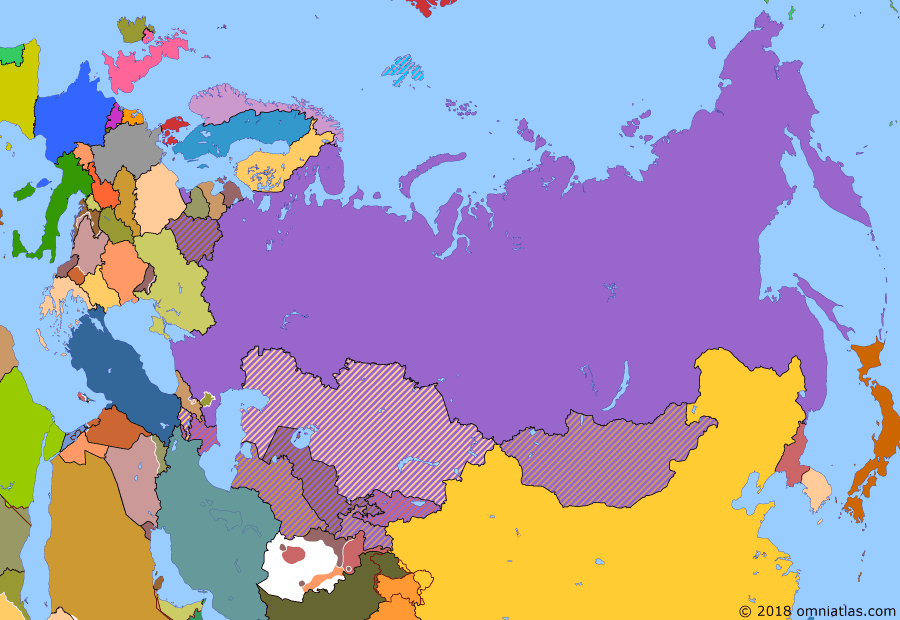 Political map of Russia & the former Soviet Union on 25 Dec 1991 (Successors of the Soviet Union: Dissolution of the Soviet Union), showing the following events: Independence of Kazakhstan; Alma-Ata Protocol; Georgian Civil War; Dissolution of the Soviet Union.