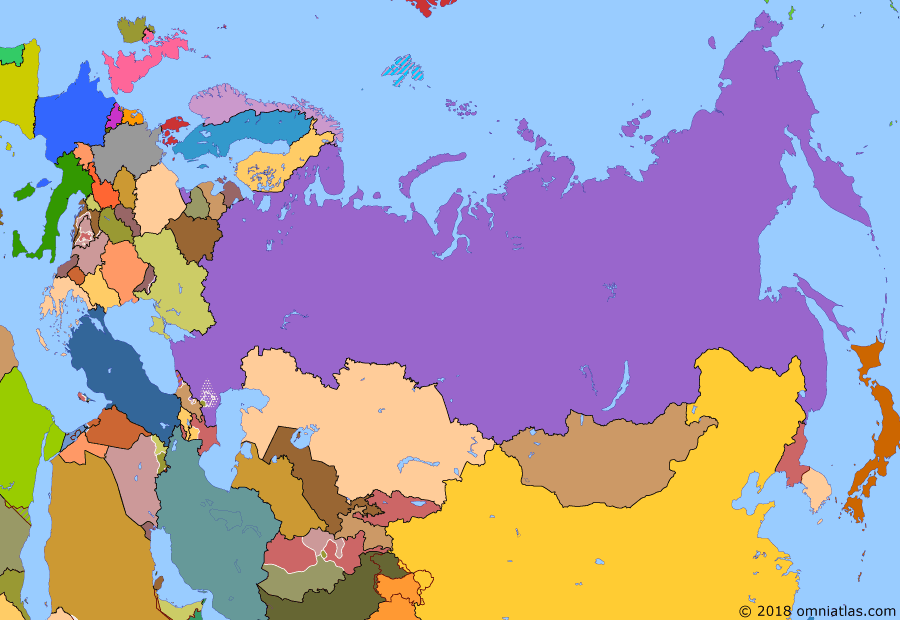 Political map of Russia & the former Soviet Union on 18 Jun 1995 (Successors of the Soviet Union: First Chechen War), showing the following events: Treaty of Maastricht; Collective Security Treaty; Rise of the Taliban; First Chechen War.