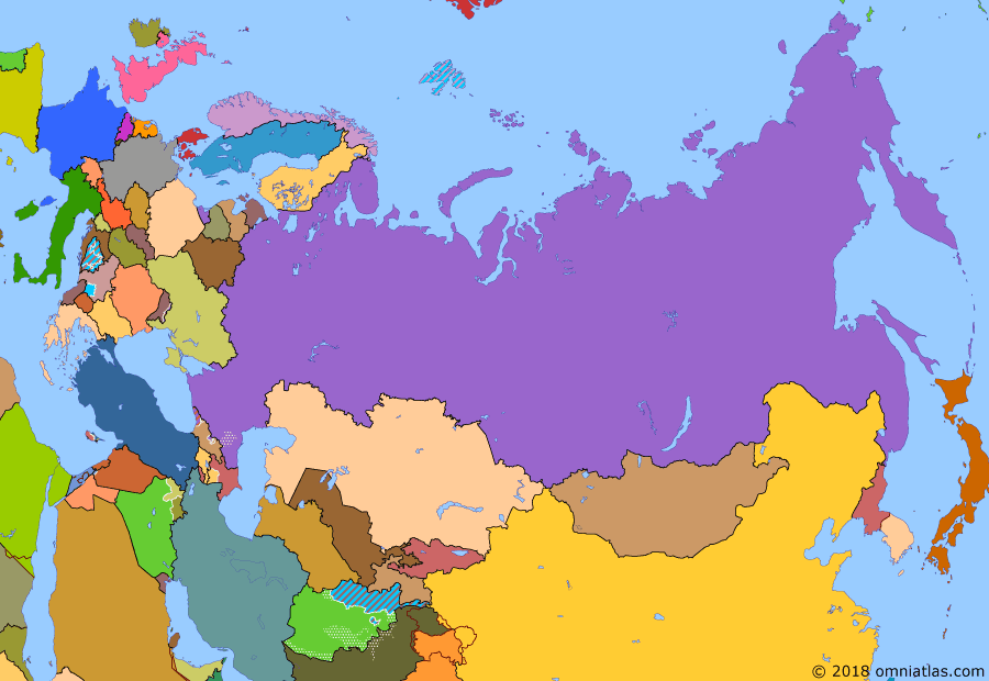 Political map of Russia & the former Soviet Union on 23 Mar 2005 (Successors of the Soviet Union: Color Revolutions), showing the following events: International Security Assistance Force; Operation Iraqi Freedom; Rose Revolution; Vilnius Group; Orange Revolution; Tulip Revolution.