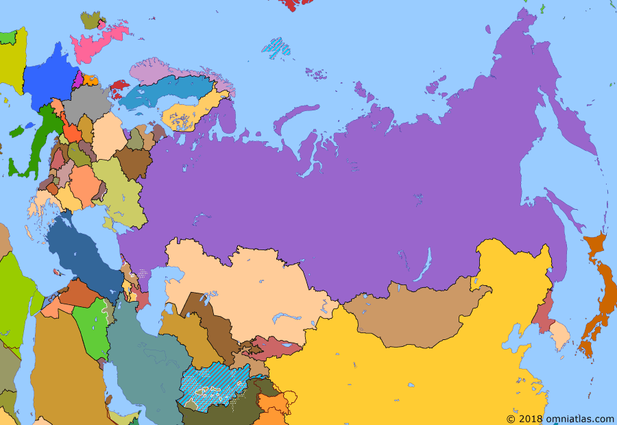 Political map of Russia & the former Soviet Union 7 August 2008 (South Ossetia War): Following the Color Revolutions of the early 2000s, it began to look like Georgia, Ukraine, and some of the other ex-Soviet states might soon join NATO. However, when war broke out between Georgia and its Russian-backed separatist regions in 2008 (2008 South Ossetia War), Russia's swift and successful intervention put any thoughts of further Western expansion on hold.