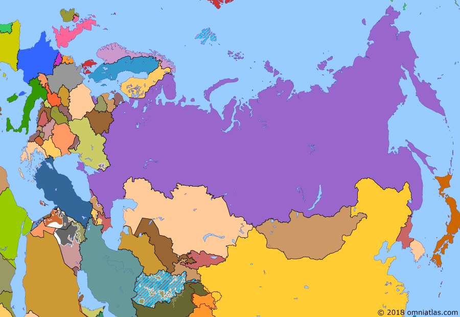 Political map of Russia & the former Soviet Union on 30 Jun 2014 (Successors of the Soviet Union: Donbass Rebellion), showing the following events: Accession of Crimea to Russia; Donetsk People's Republic; Kharkov People's Republic; Lugansk People's Republic; Odessa Clashes; 2014 Northern Iraq offensive.