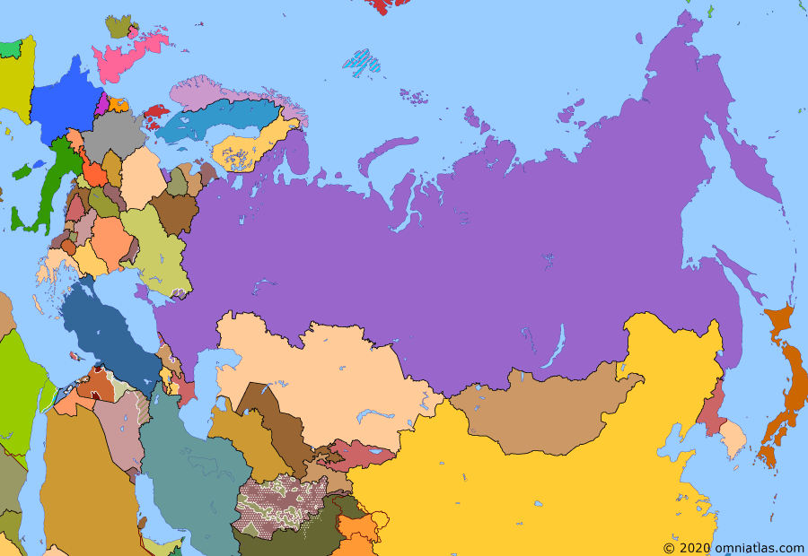 Political map of Russia & the former Soviet Union on 15 Jan 2020 (Successors of the Soviet Union: Northern Eurasia Today), showing the following events: Kerch Strait incident; Trump's withdrawal from Syria; Iran–US confrontation; Operation Peace Spring.