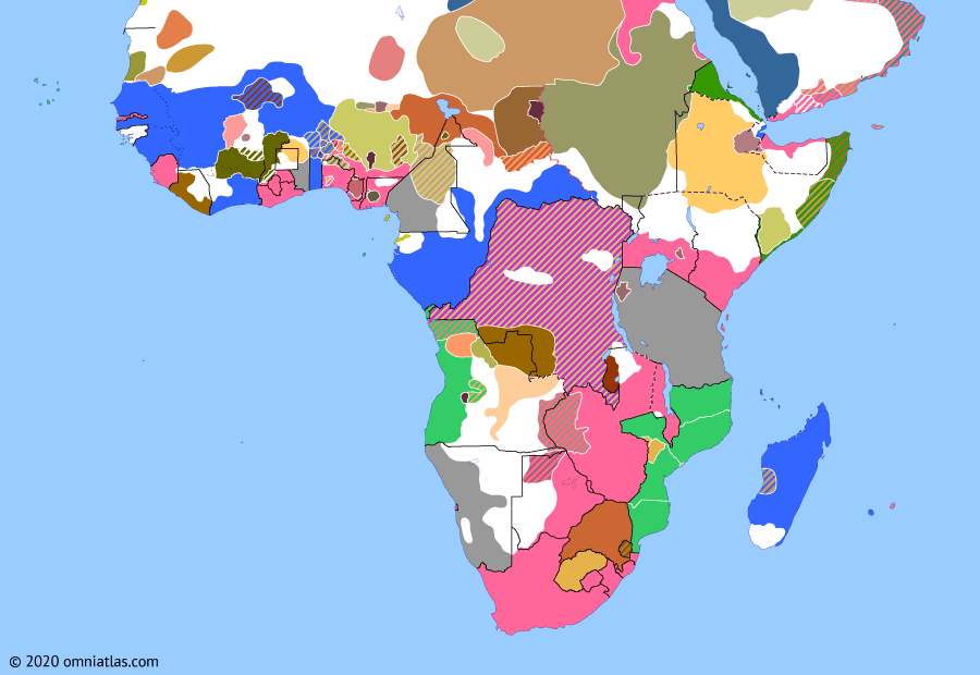 Political map of Sub-Saharan Africa on 26 Oct 1896 (The Scramble for Africa: Treaty of Addis Ababa), showing the following events: Battle of Ferkeh; Treaty of Addis Ababa.
