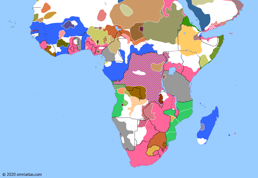 Political map of Sub-Saharan Africa on 13 Jul 1897 (The Scramble for Africa: Batetela Rebellion), showing the following events: Benin Expedition; Second Batetela Rebellion; Battle of Rejaf; Anglo-Ethiopian Treaty of 1897.
