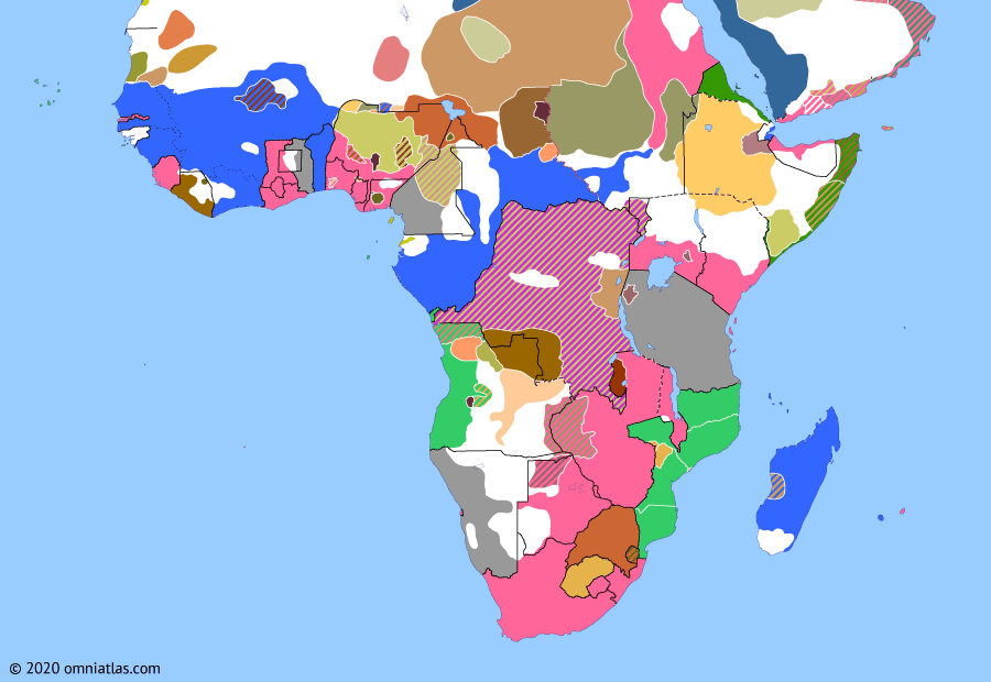 Political map of Sub-Saharan Africa on 19 Sep 1898 (The Scramble for Africa: Fashoda Incident), showing the following events: Third Mandingo War; Niger Convention; Marchand Mission; Anglo-German Agreement of 1898; Battle of Omdurman; Fashoda Incident.