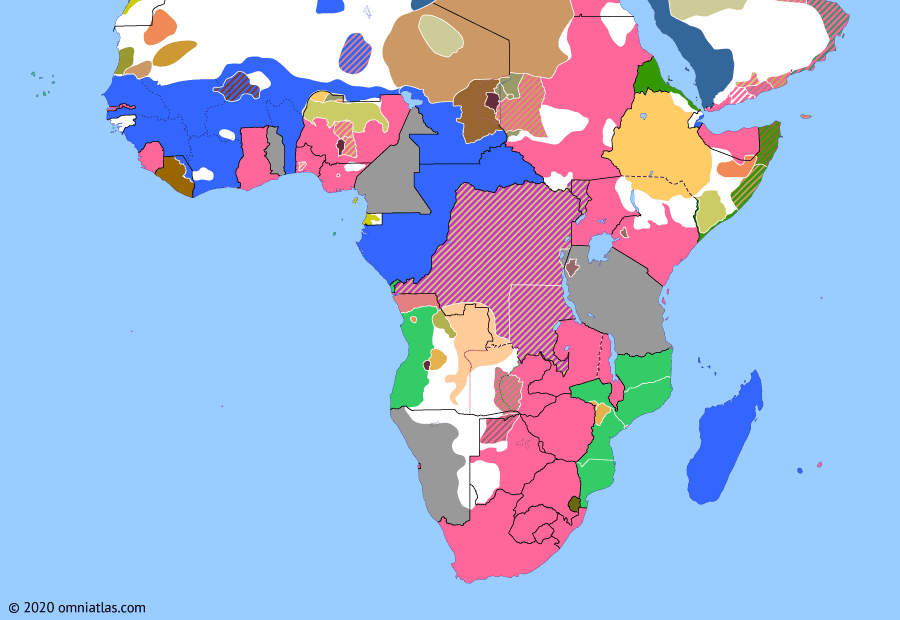 Political map of Sub-Saharan Africa on 31 May 1902 (The Scramble for Africa: Treaty of Vereeniging), showing the following events: Saudi capture of Riyadh; Cottenest Expedition; Bailundo revolt; Anglo-Ethiopian Treaty of 1902; Treaty of Vereeniging.