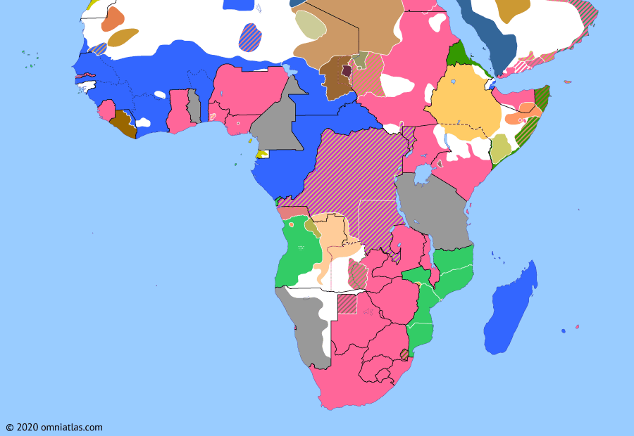 Political map of Sub-Saharan Africa on 25 Oct 1903 (The Scramble for Africa: Somaliland Campaign), showing the following events: Fall of Sokoto; Protectorate of Mauritania; Fourth Dervish Expedition.