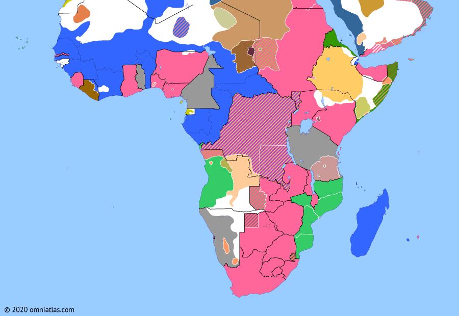 Political map of Sub-Saharan Africa on 19 Sep 1905 (The Scramble for Africa: Maji Maji Rebellion), showing the following events: Zaidi Revolt in Yemen; Namaqua Revolt; Tangier Crisis begins; Algerian-AOF line; Maji Maji Rebellion.