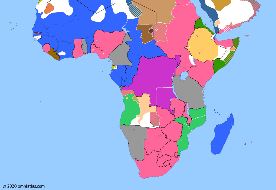 Political map of Sub-Saharan Africa on 15 Nov 1908 (The Scramble for Africa: Belgian Congo), showing the following events: Ouaddai War; Italo-Ethiopian Convention; Belgian Congo.