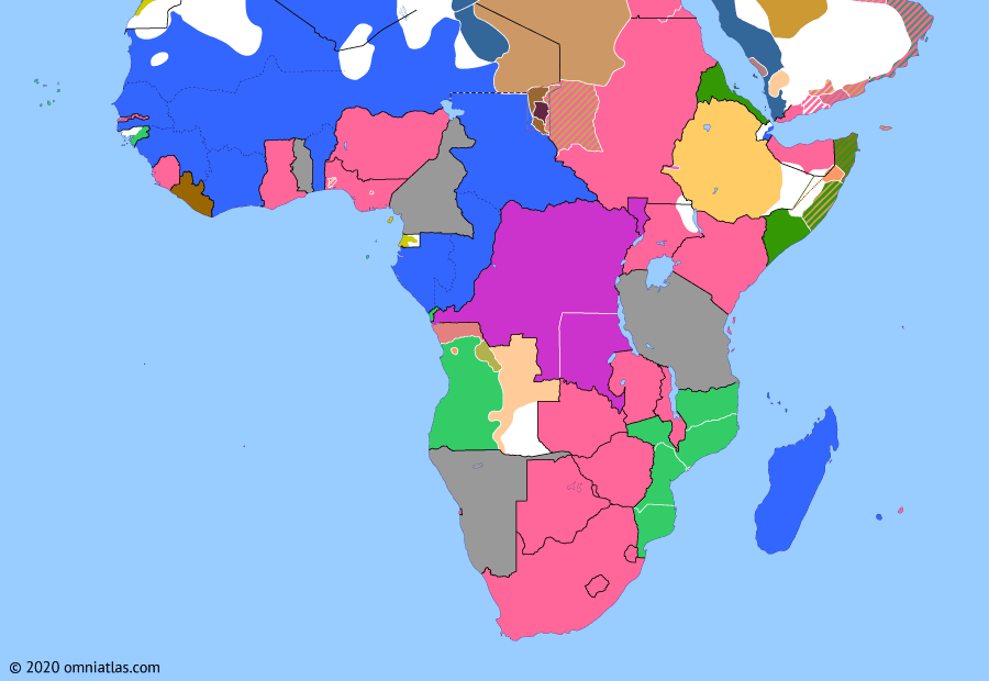 Political map of Sub-Saharan Africa on 31 May 1910 (The Scramble for Africa: Union of South Africa), showing the following events: Adrar Campaign; French Equatorial Africa; Union of South Africa.