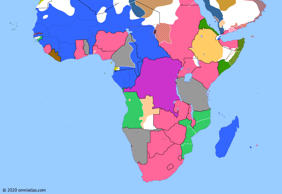 Political map of Sub-Saharan Africa on 04 Nov 1911 (The Scramble for Africa: Neukamerun), showing the following events: Cession of Lado Enclave; Agadir Crisis begins; Agadir Crisis; Northern Rhodesia; Italo-Turkish War; Neukamerun.