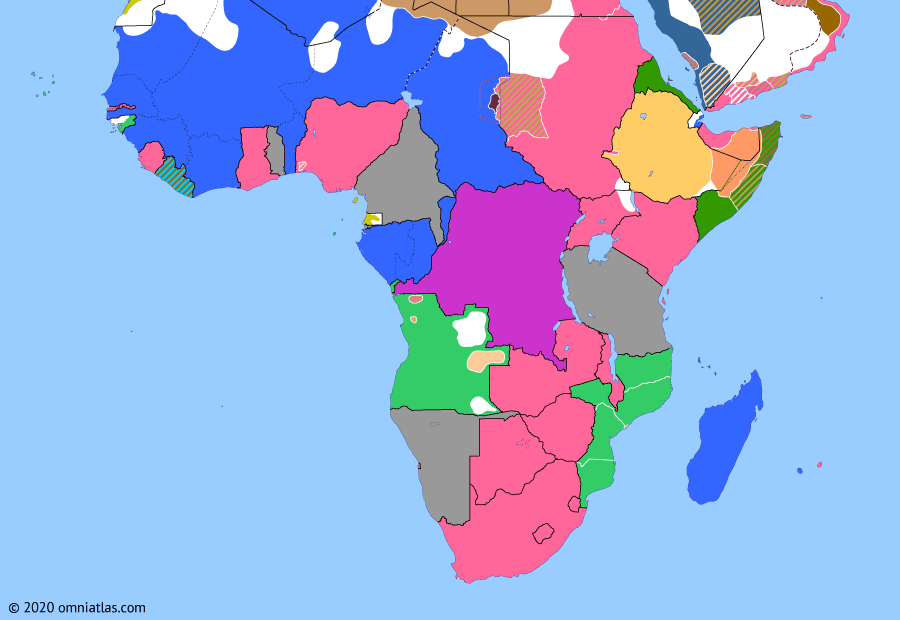 Political map of Sub-Saharan Africa on 04 Aug 1914 (World War I in Africa: Outbreak of the Great War), showing the following events: Violet Line; Ottoman-Saudi Treaty; Outbreak of World War I; French mobilization; British entry into World War I; German invasion of Belgium.