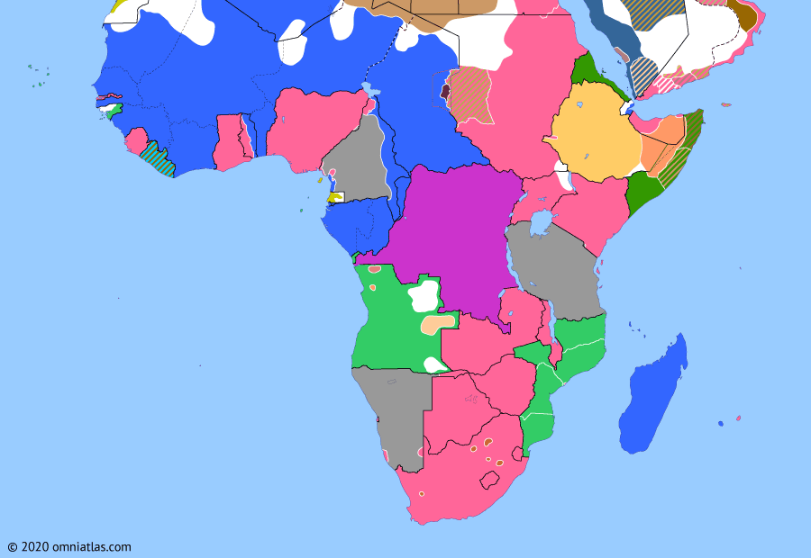 Political map of Sub-Saharan Africa on 25 Oct 1914 (World War I in Africa: Maritz Rebellion), showing the following events: Invasion of South West Africa; Battle of Zanzibar; Maritz Rebellion.