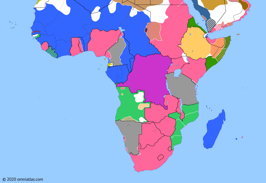 Political map of Sub-Saharan Africa on 04 Feb 1915 (World War I in Africa: Early Victories of the Schutztruppe), showing the following events: Ottoman entry into World War I; German campaign in Angola; Battle of Tanga; Battle of Kilimanjaro; Ottoman Jihad; Chilembwe uprising; Battle of Kakamas.