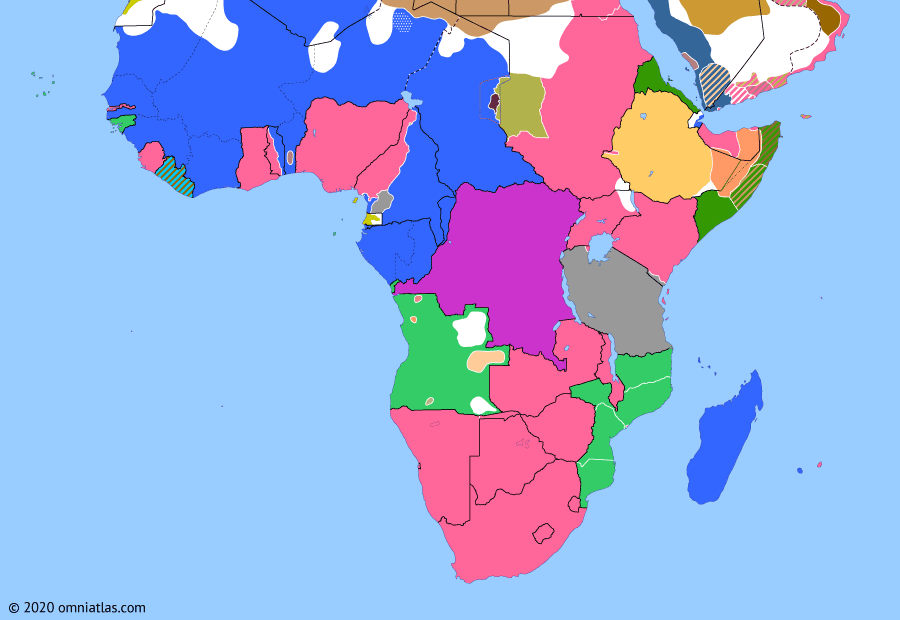 Political map of Sub-Saharan Africa on 14 Nov 1915 (World War I in Africa: Conquest of Kamerun), showing the following events: Battles of Jaunde; Italian entry into WWI; Battle of Rufiji Delta; Senussi invasion of Egypt.