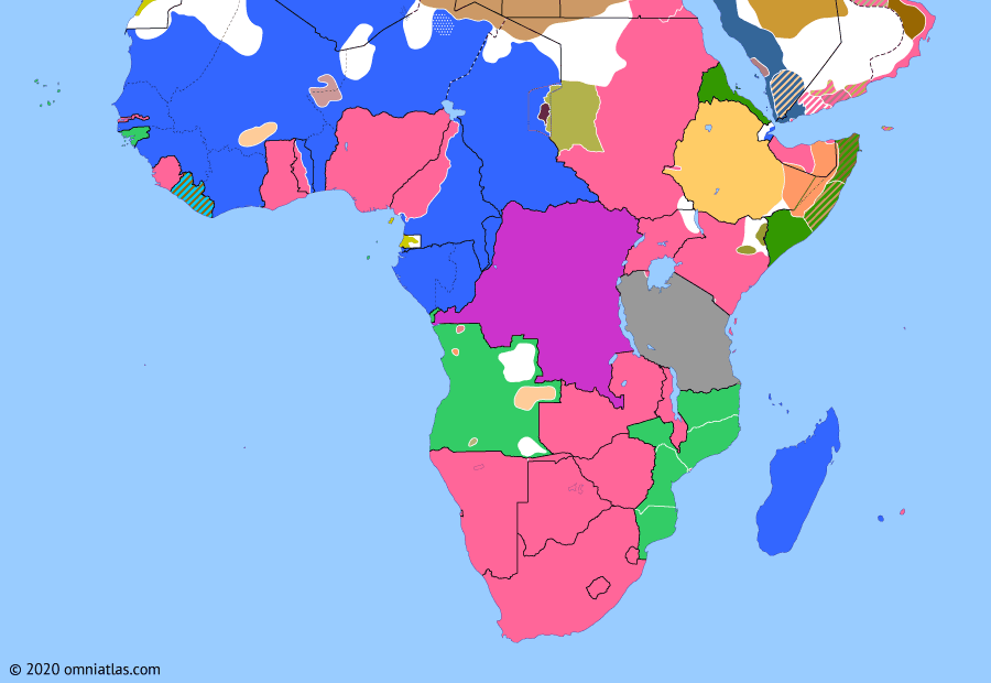 Political map of Sub-Saharan Africa on 01 Mar 1916 (World War I in Africa: Senussi and Darfur Campaigns), showing the following events: Volta-Bani War; Aulihan revolt; Senussi Campaign; Battle for Lake Tanganyika; Firhoun's 1916 revolt; Darfur enters World War I.