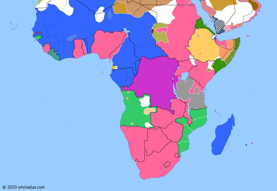Political map of Sub-Saharan Africa on 07 Aug 1916 (World War I in Africa: East African Campaign), showing the following events: 1916 East African Offensive; Portugal enters World War I; Darfur Expedition; Kaocen revolt; Apostasy of Lij Iyasu; Tabora Offensive; Battle of Mecca.