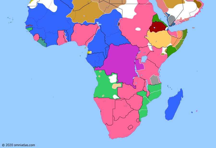 Political map of Sub-Saharan Africa on 03 Jan 1917 (World War I in Africa: Kaocen Revolt), showing the following events: Landings at Kilwa and Lindi; Zewditu's overthrow of Iyasu; Siege of Agadez.