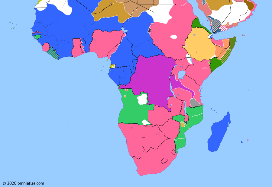 Political map of Sub-Saharan Africa on 15 Oct 1917 (World War I in Africa: Conquest of German East Africa), showing the following events: Fall of German East Africa; Barue Uprising; US declaration of war on Germany; Liberia enters World War I; Mahenge Offensive.