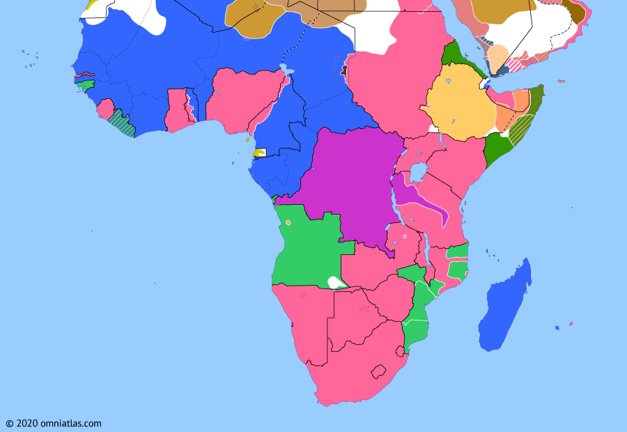 Political map of Sub-Saharan Africa on 11 Nov 1918 (World War I in Africa: Armistice with Germany), showing the following events: Schutztruppe in Rhodesia; Spanish Flu in Africa; Armistice of Mudros; Armistice of Compiègne.