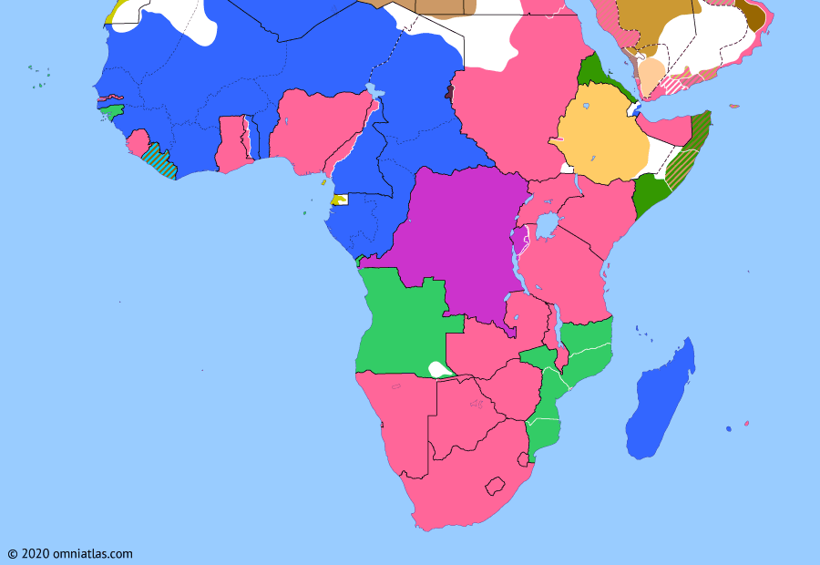 Political map of Sub-Saharan Africa on 10 Aug 1920 (Africa between the World Wars: Africa and the Peace Treaties), showing the following events: Surrender of Lettow-Vorbeck; Egyptian Revolution of 1919; Orts-Milner Convention; Treaty of Versailles; Kionga Triangle; Fifth Dervish Expedition; Treaty of Sèvres.