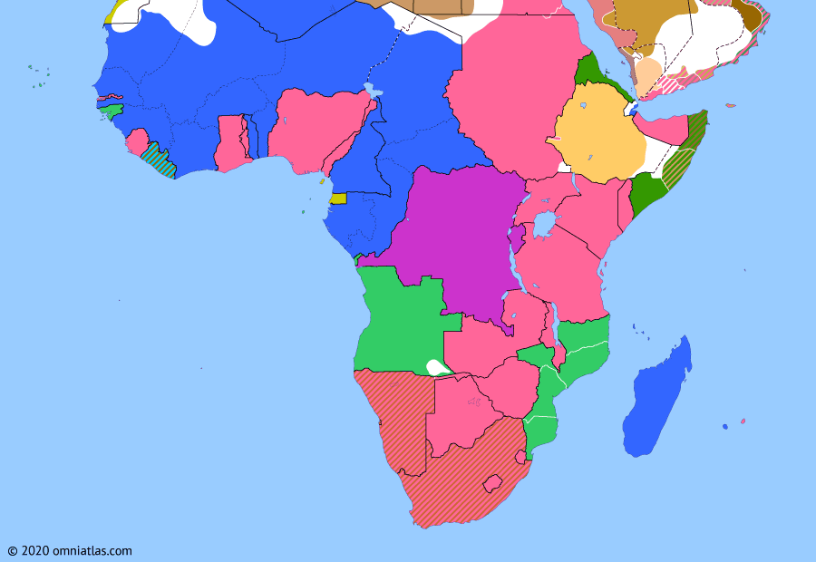 Political map of Sub-Saharan Africa on 15 Jul 1924 (Africa between the World Wars: Anglo-Italian Convention), showing the following events: Southern Rhodesia Referendum; Treaty of Lausanne; 1923 Imperial Conference; Anglo-Italian Convention.